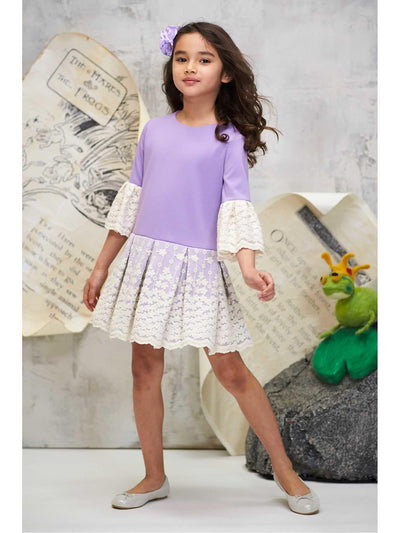 Girls Lacy Day Dress  lav alt1