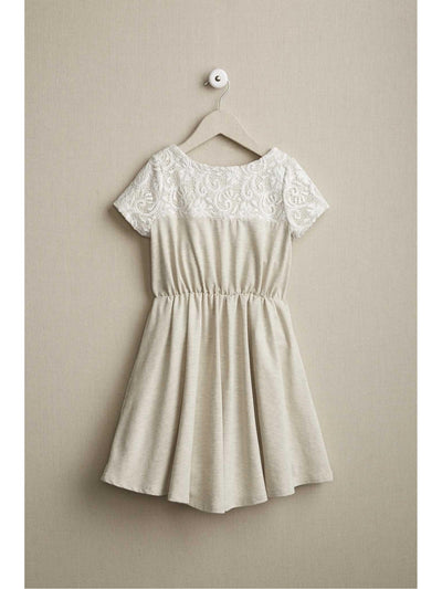Girls Lacy Knit Dress  oat alt2