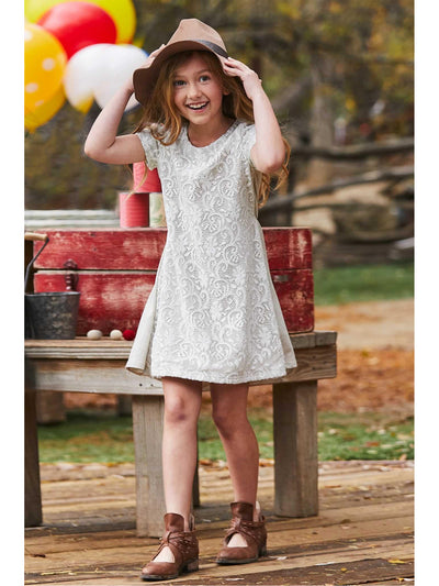 Girls Lacy Knit Dress  oat alt3