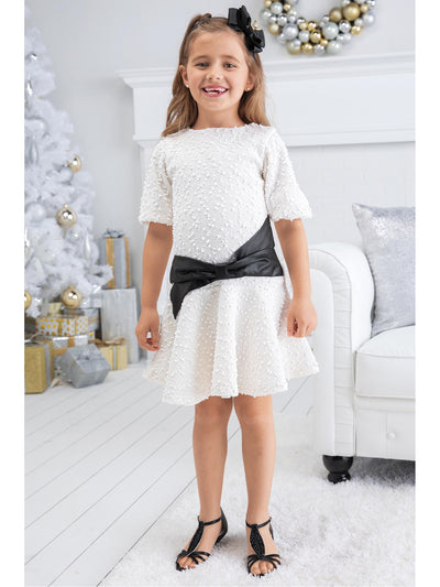 Girls Leather Bow Bouclé Dress