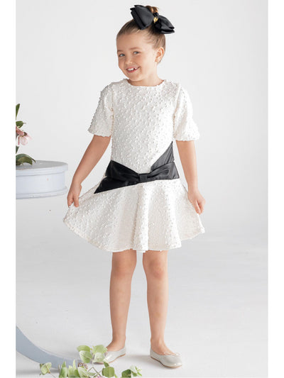 Girls Leather Bow Bouclé Dress  whi alt1