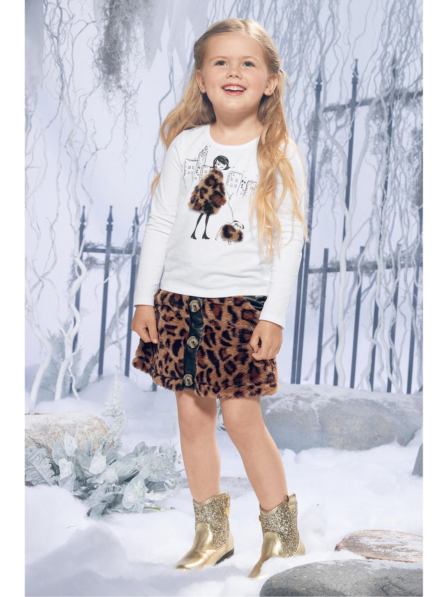 Girls Leopard Faux Fur & Leather Skirt