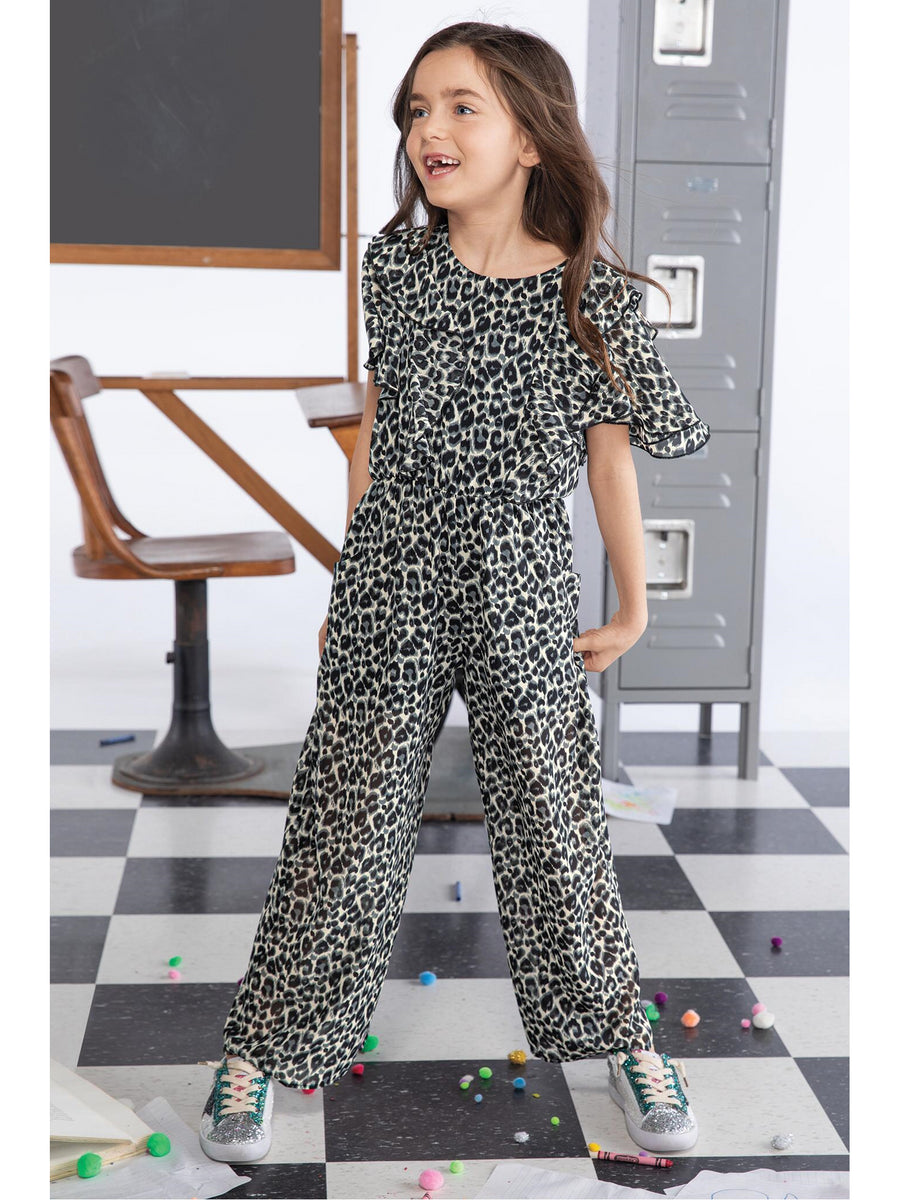 Girls Leopard Print Jumpsuit