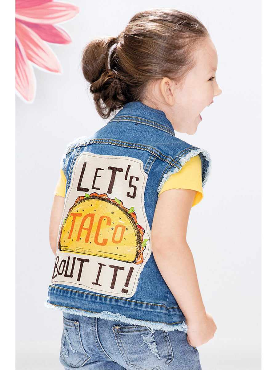 Girls Let's Taco Bout It Denim Vest