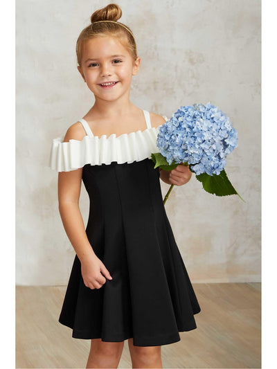 Girls Licorice Ruffle Dress  bla alt1