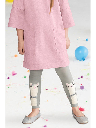 Girls Llama with Roses Tights