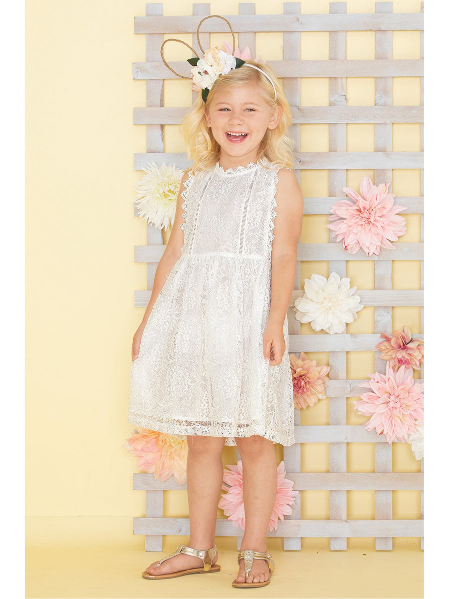 Girls Lovely Lace Overlay Dress