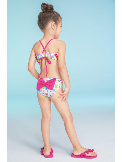 Girls Macarons & Pom Poms 2-Pc. Swimsuit  macar alt1