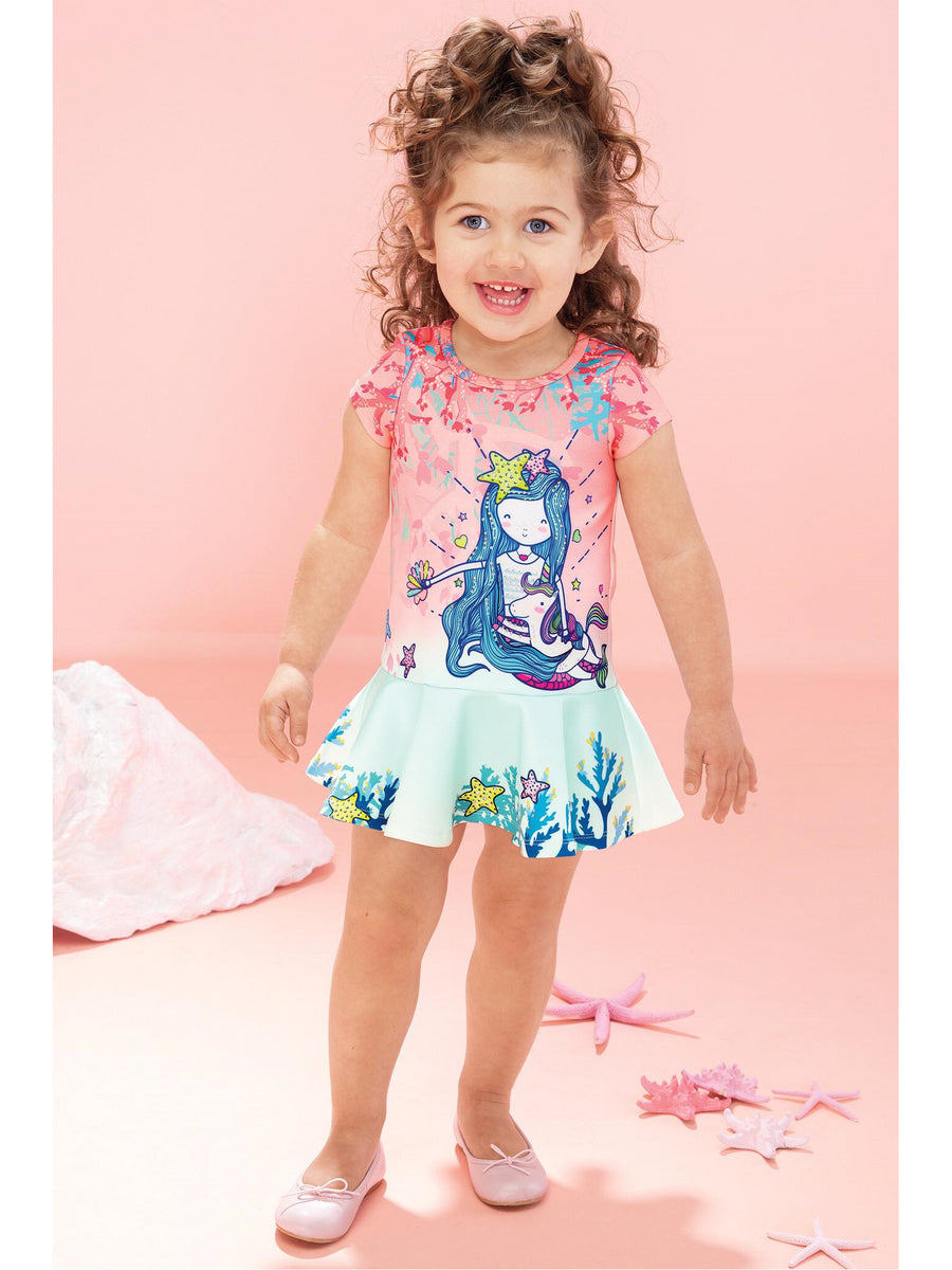 Girls Mermaid Drop Waist Dress