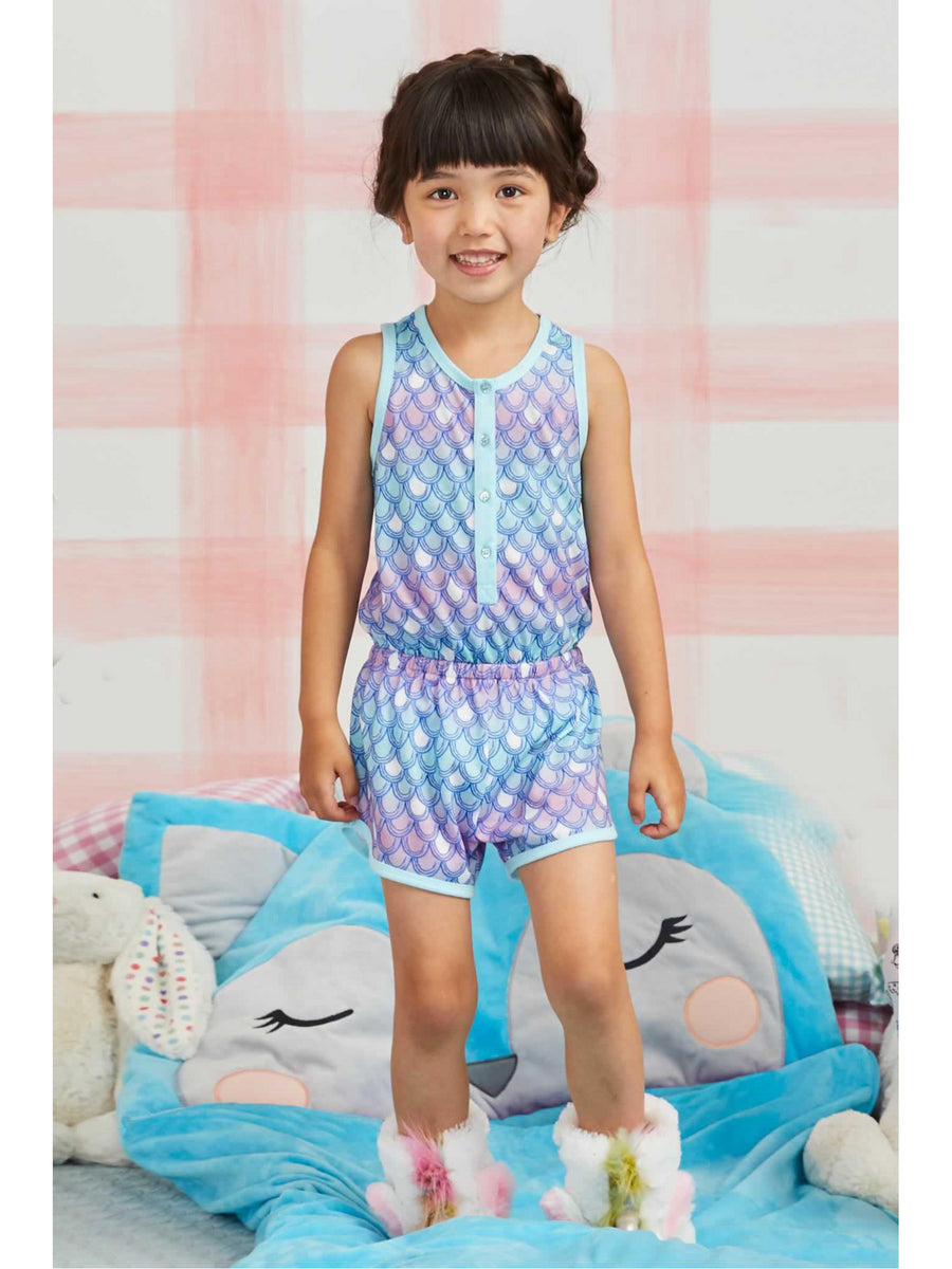 Girls Mermaid Scales Sleep Romper