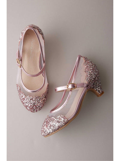 Girls Mesh Glitter Kitten Heels  pin 1
