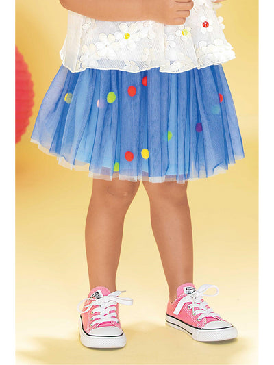 Girls Mesh Skirt with Pom Poms