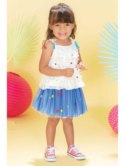 Girls Mesh Skirt with Pom Poms  blu alt1