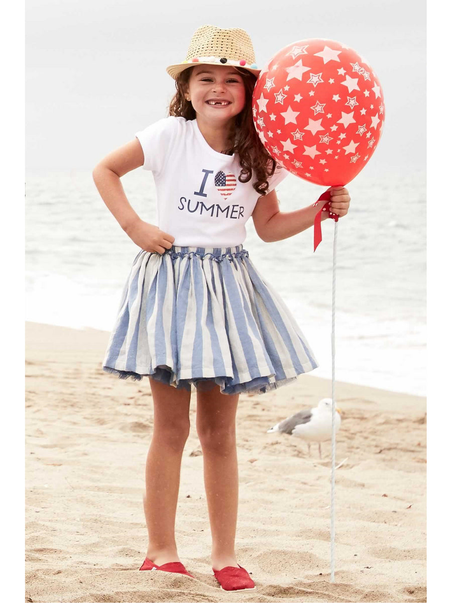 Girls Metallic Blue Stripe Skirt