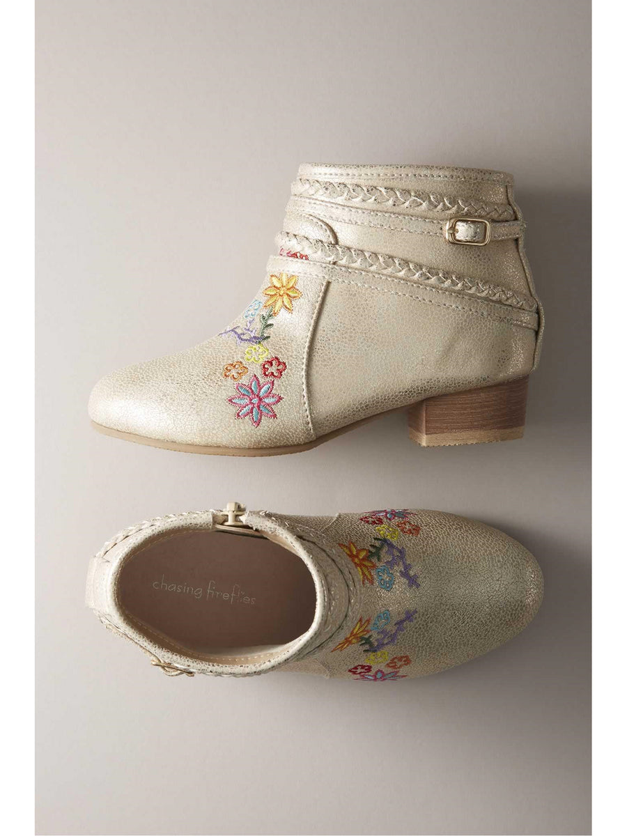 Girls Metallic Embroidered Booties