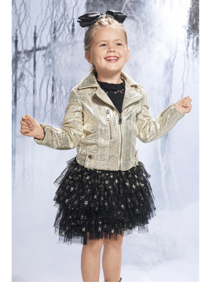 Girls Metallic Faux Leather Biker Jacket