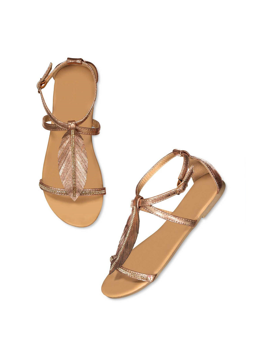 Girls Metallic Leaf Sandals