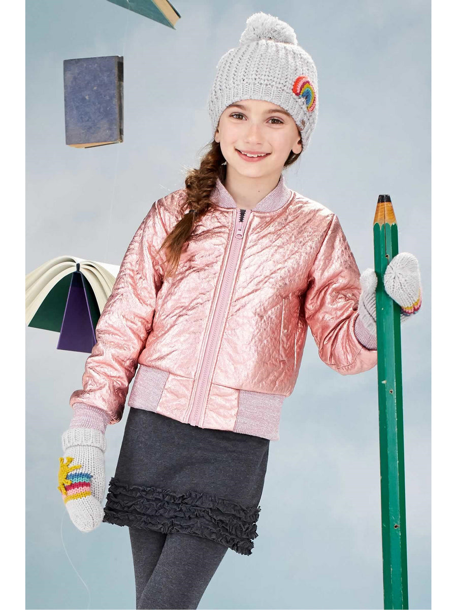 Girls Metallic Pilot Jacket