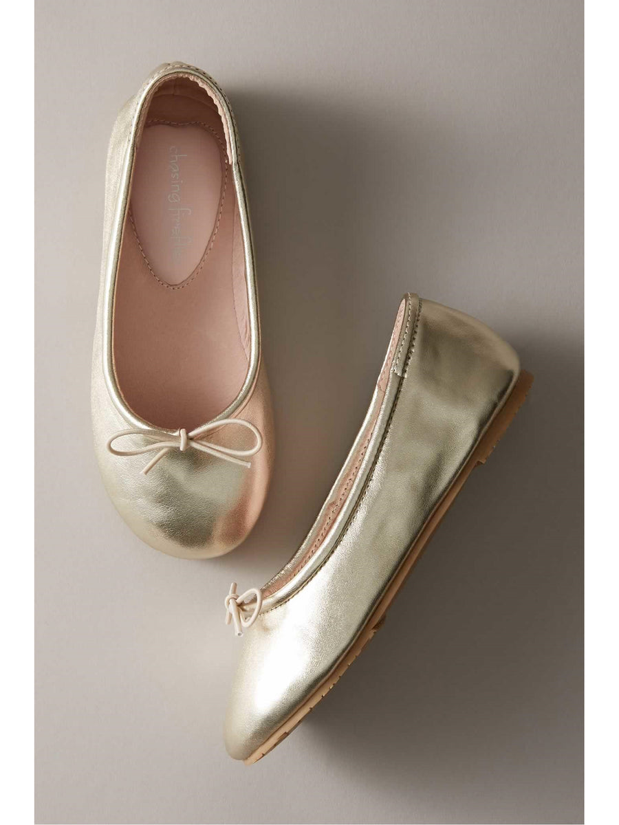 Girls Metallic Prima Ballet Flats