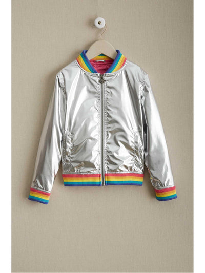 Girls Metallic Rainbow Pilot Jacket