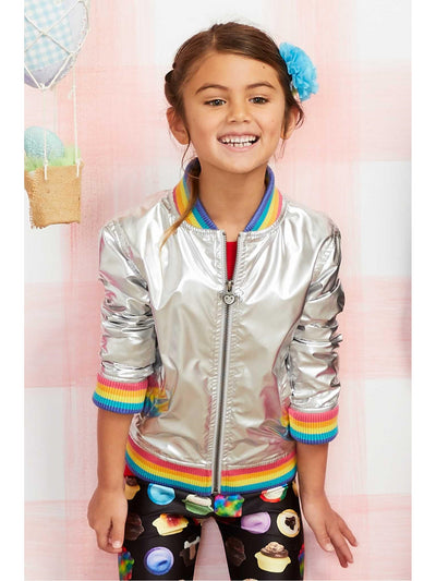 Girls Metallic Rainbow Pilot Jacket  sil alt1
