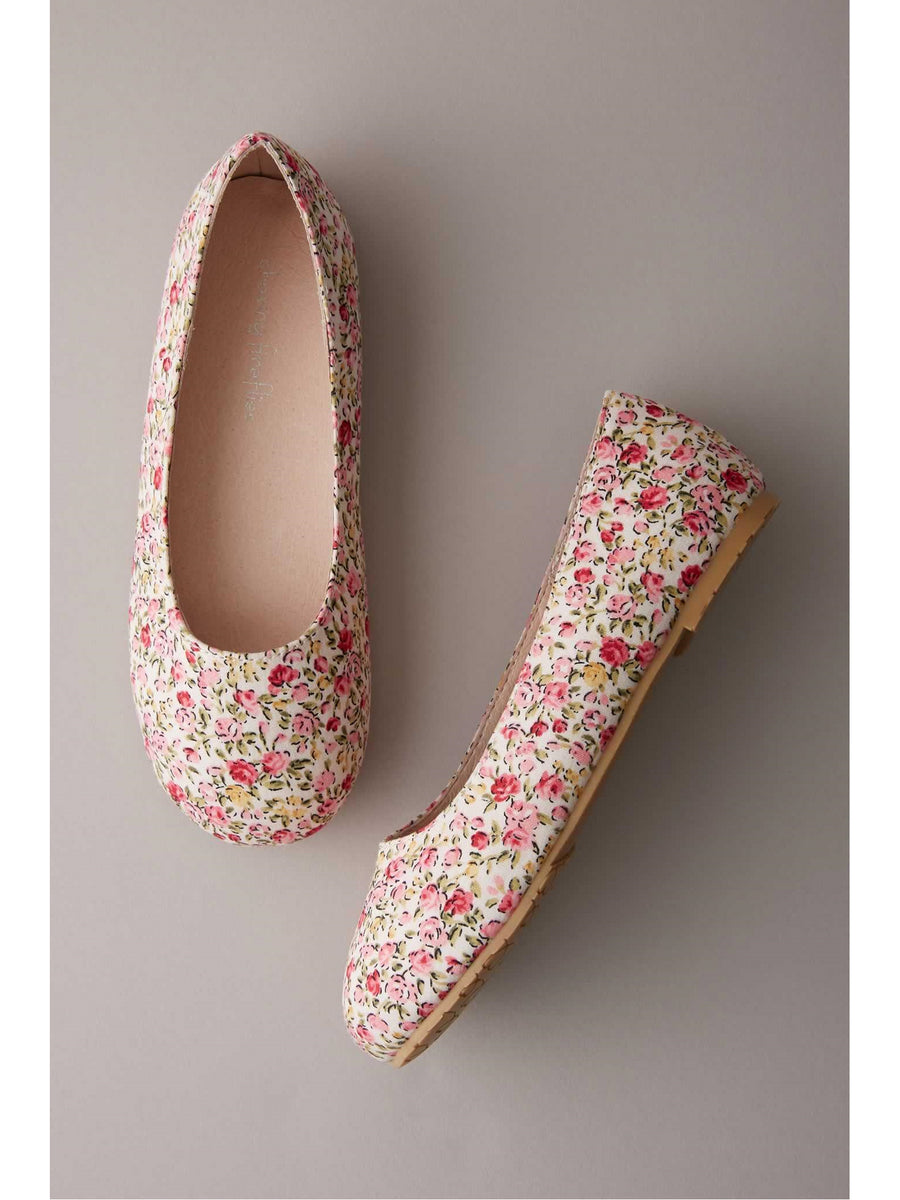 Girls Mini Floral Flats