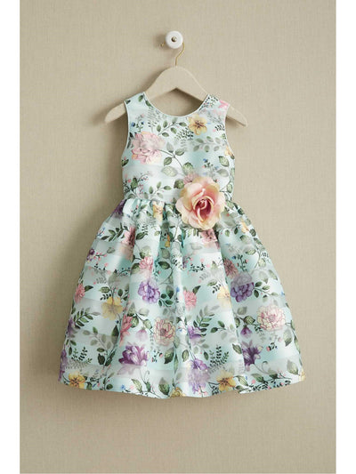 Girls Mint Floral Dress