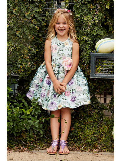 Girls Mint Floral Dress  mnt alt1