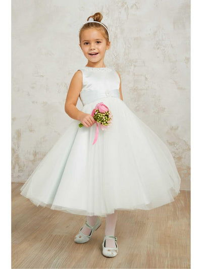 Girls Mint Satin & Tulle Dress  mnt alt1