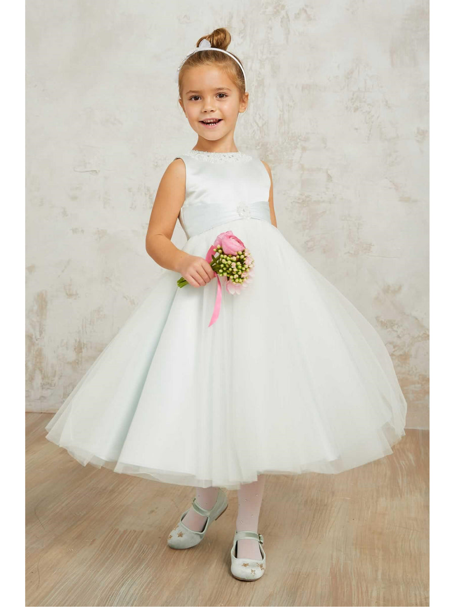 Girls Mint Satin & Tulle Dress