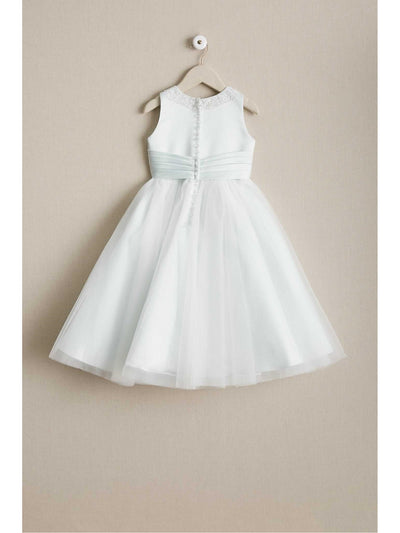 Girls Mint Satin & Tulle Dress  mnt alt2