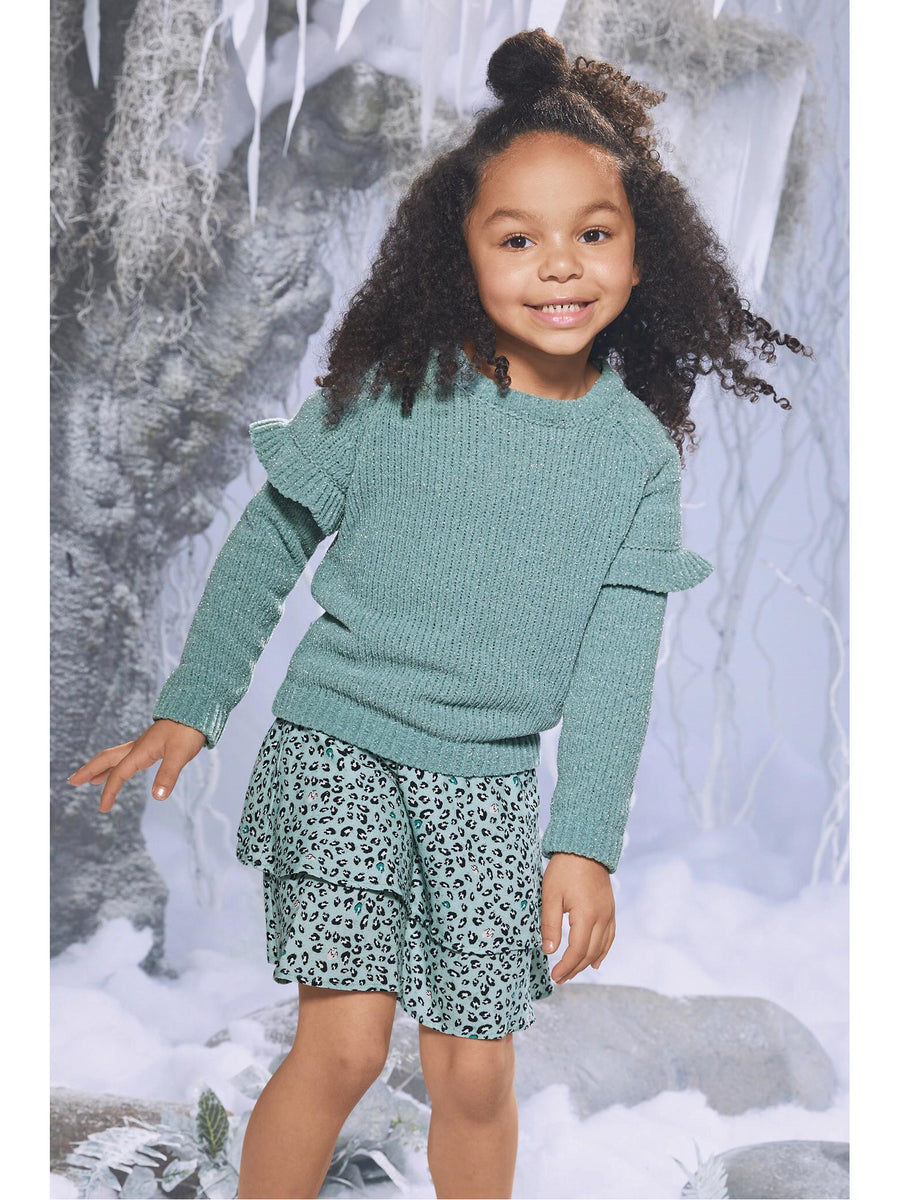 Girls Minty Ruffle Sweater