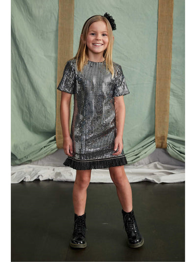 Girls Mod Sequin Dress  sil alt1