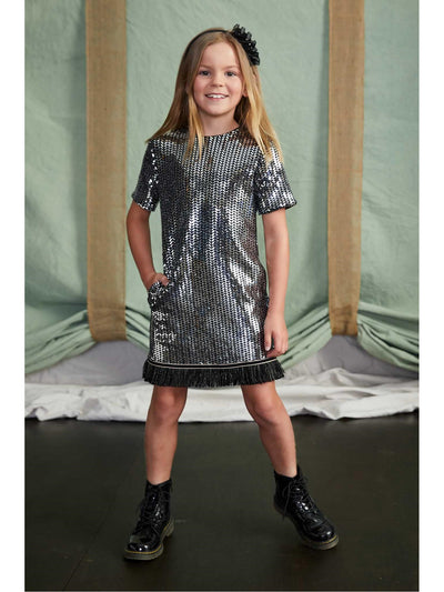 Girls Mod Sequin Dress  sil alt2