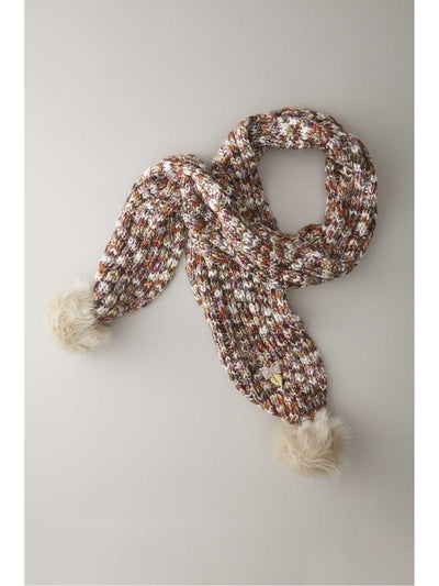 Girls Multicolored Pompom Scarf
