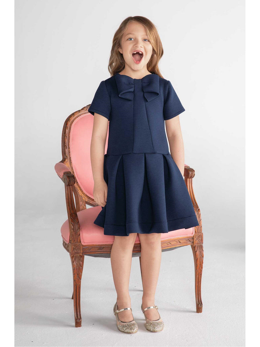 Girls Navy Bow Neoprene Dress