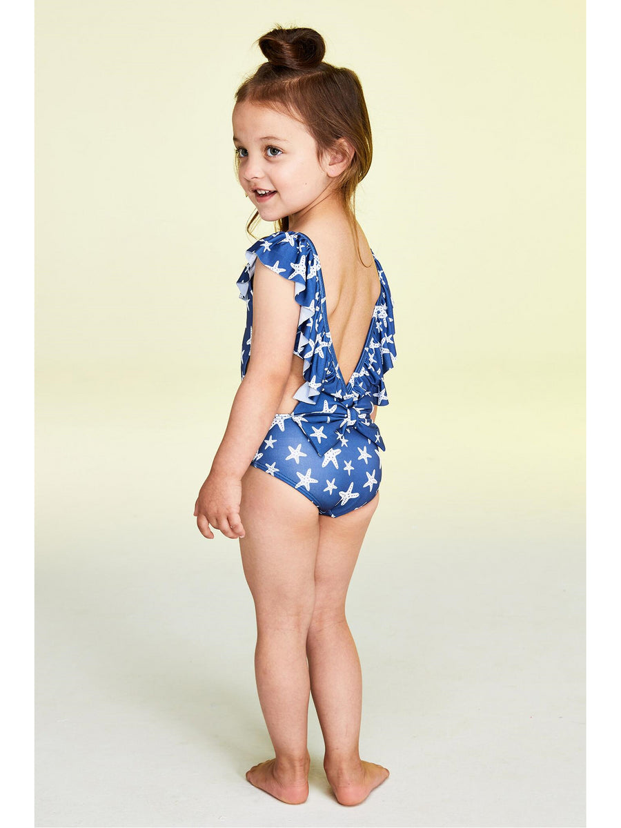 Girls Off-the-Shoulder Starfish Swimsuit