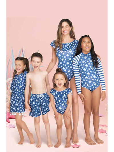 Girls Off-the-Shoulder Starfish Swimsuit  strfh alt2