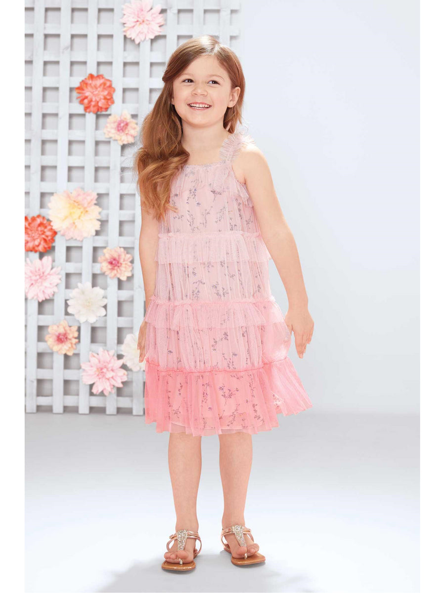 Girls Ombré Tiered Ruffle Dress