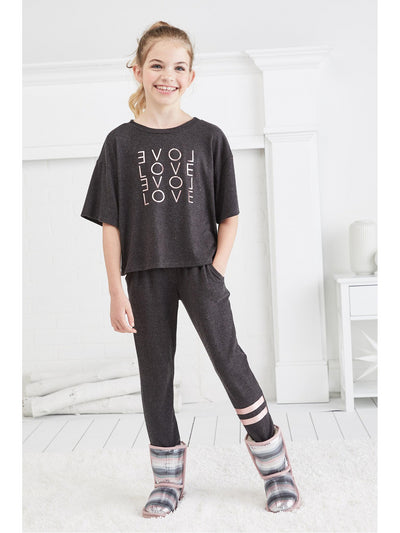 Girls On the Run Striped Joggers  cha alt1