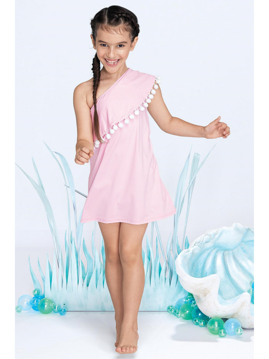 Girls One-Shoulder Pom Pom Cover-Up