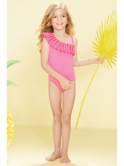 Girls One-Shoulder Ruffle Swimsuit