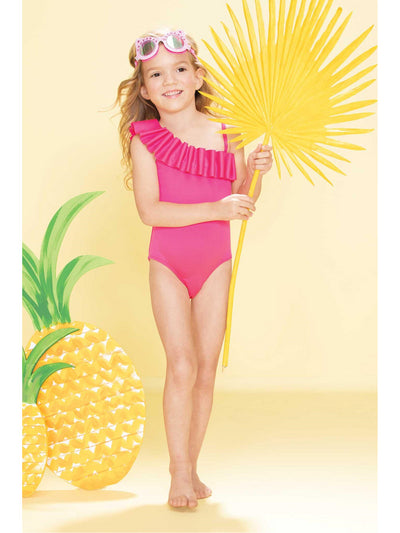 Girls One-Shoulder Ruffle Swimsuit  pink alt1