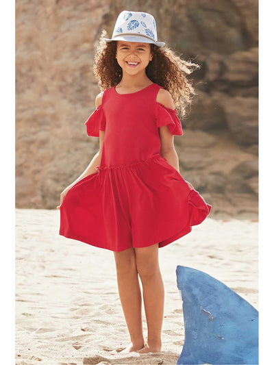 Girls Open-Shoulder Knit Dress