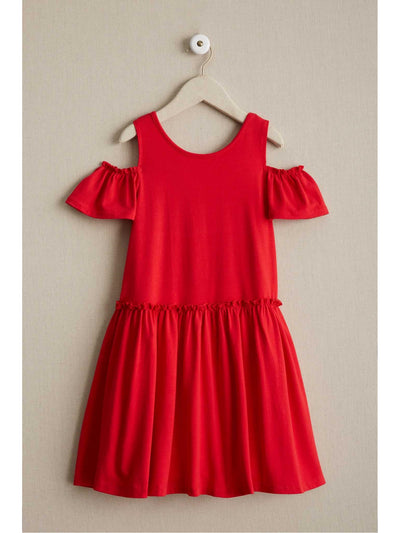 Girls Open-Shoulder Knit Dress  red alt1