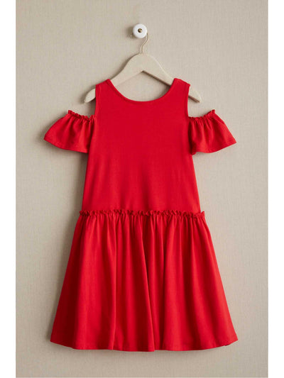 Girls Open-Shoulder Knit Dress  red alt2