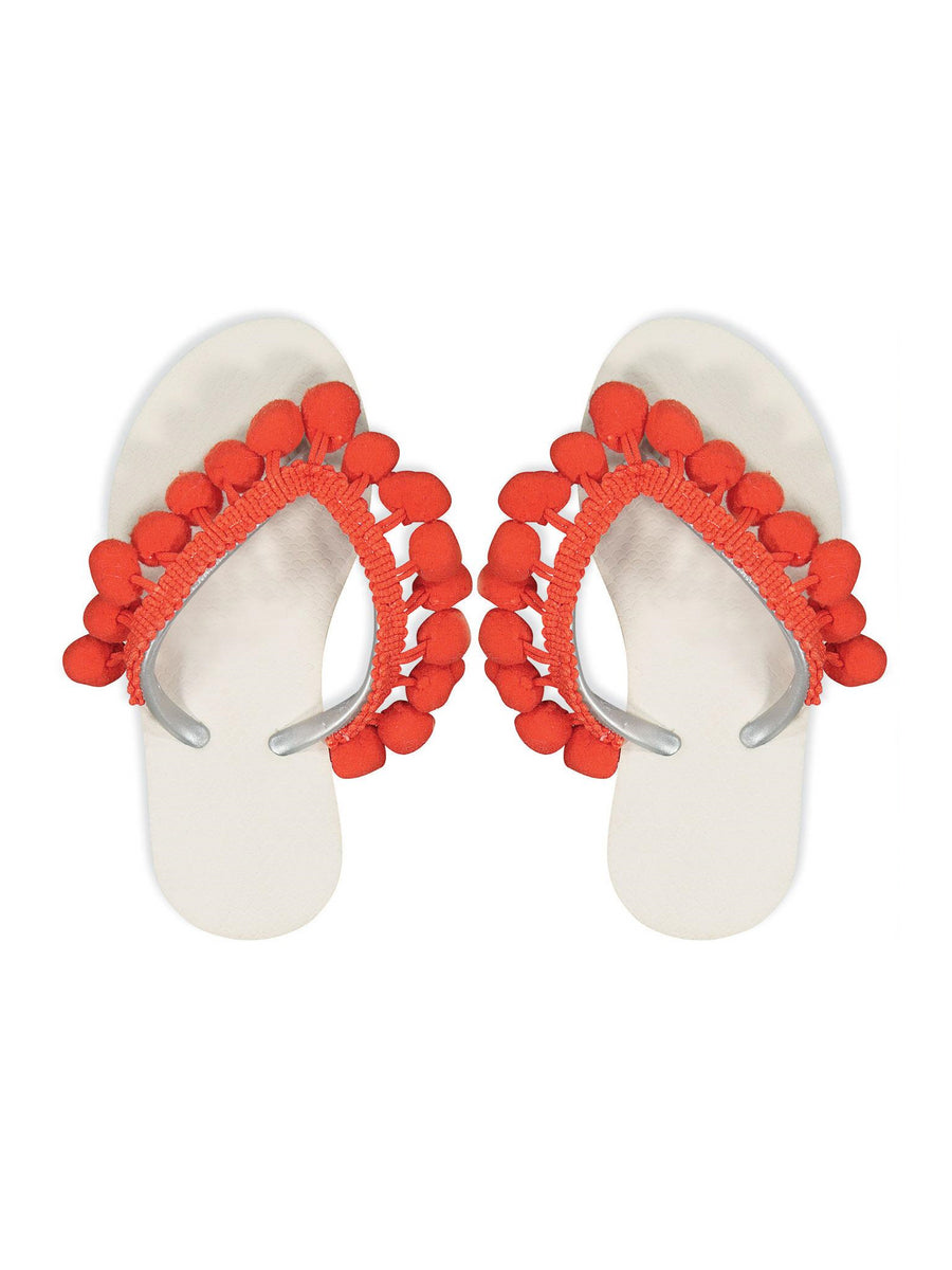 Girls Orange Pom Pom Flip-Flops