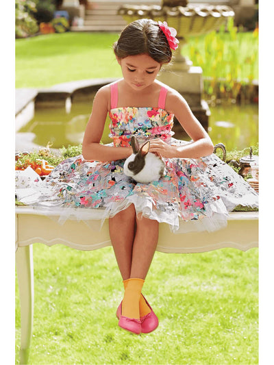 Girls Painted Flowers Dress  mlt alt1