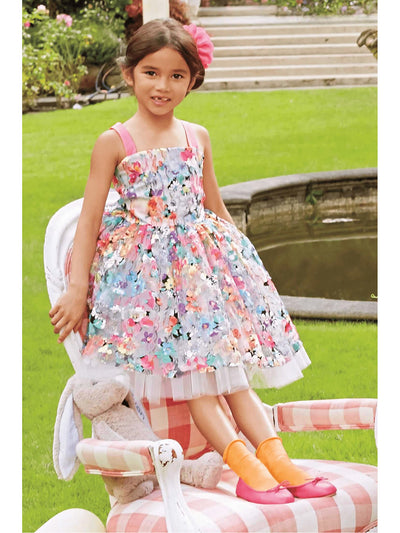 Girls Painted Flowers Dress  mlt alt3