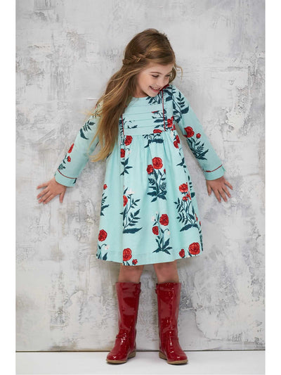 Girls Painted Poppy Dress  aqu alt1
